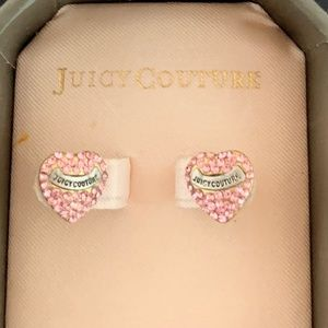 Juicy Couture Pink Pave Heart Earrings